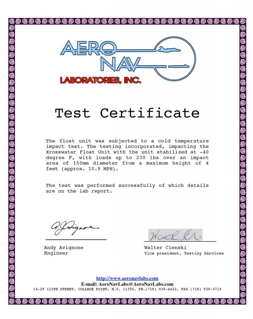 Certificado de prueba Aero Nav